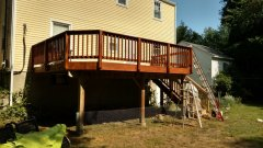 Freshly stained decks power washing privacy fence Reading Andover, MA