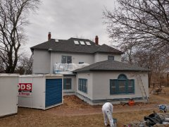 Stucco home wood trim full exterior Lexington, MA